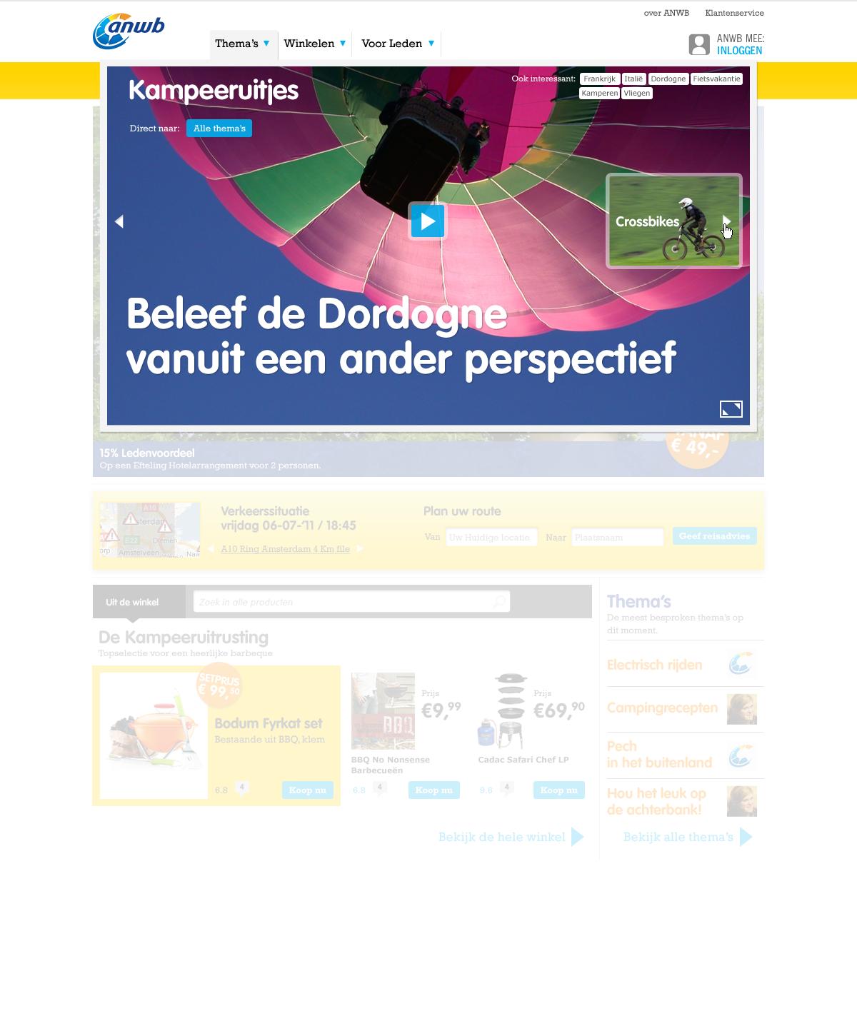 ANWB Homepage Experience Dropdown