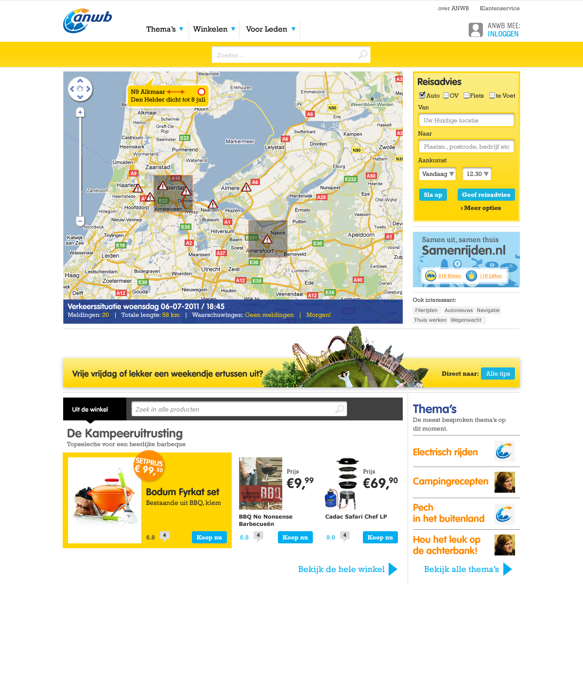 ANWB Homepage Vrijdagochtend