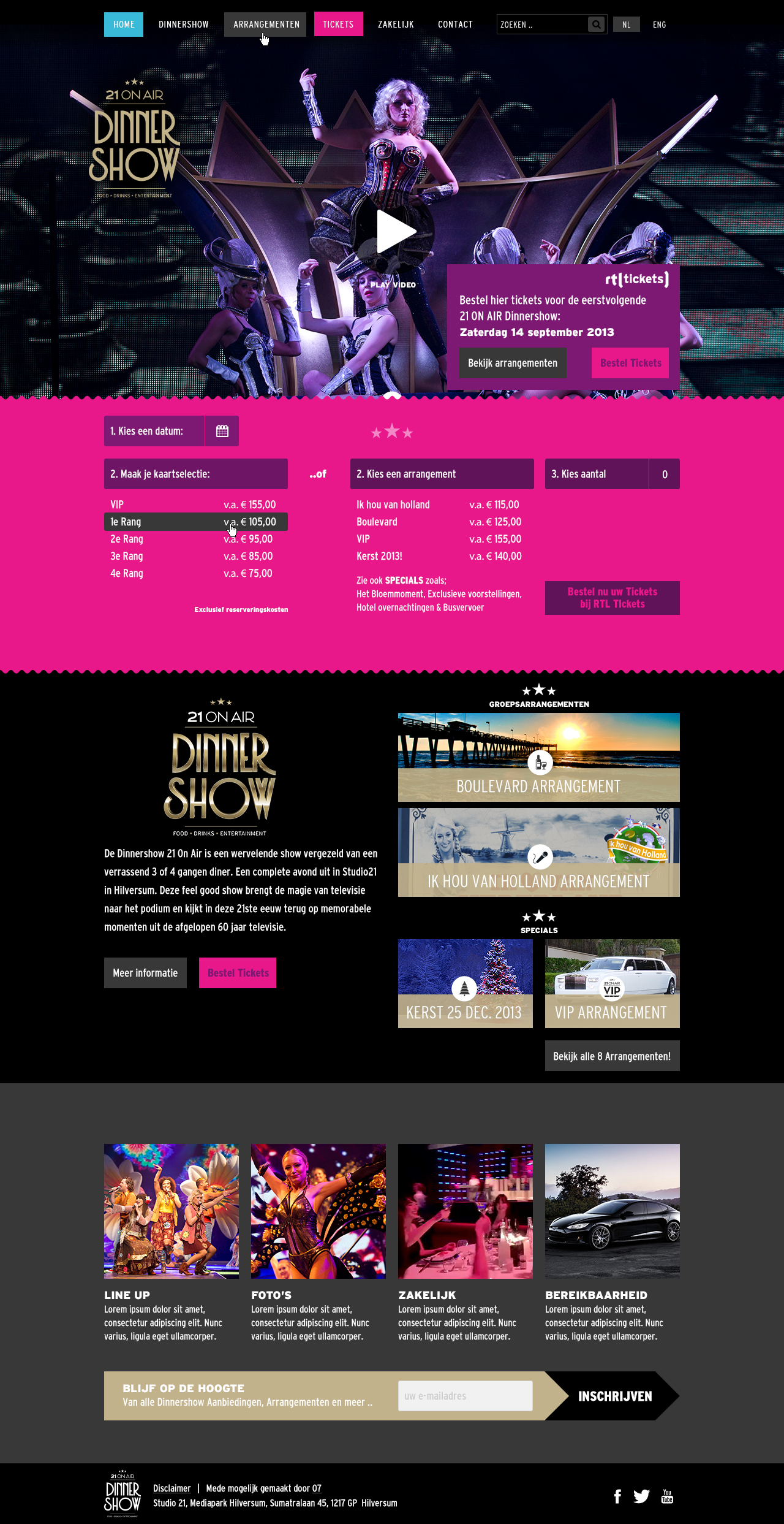 Dinner Show homepage