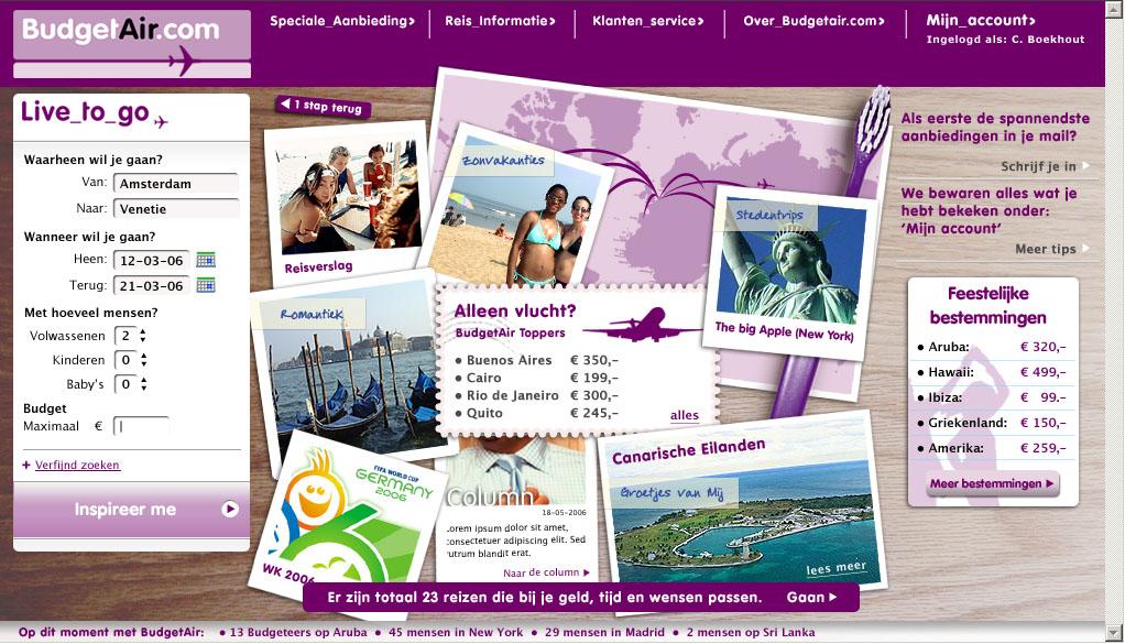 Budget Air homepage